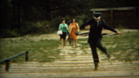 1966: Military cadet showing off for parents rope obstacle course Live Action