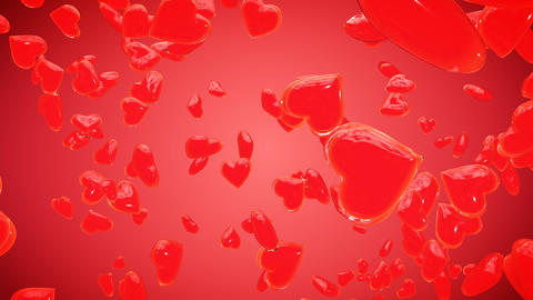 Valentines hearts on red background Animation