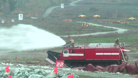 Direct fire suppression vehicle MPT-521 in action Footage