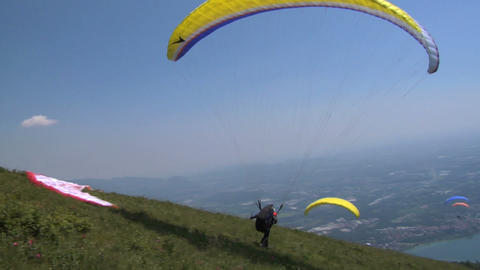 Paragliding take off Stock Video Footage