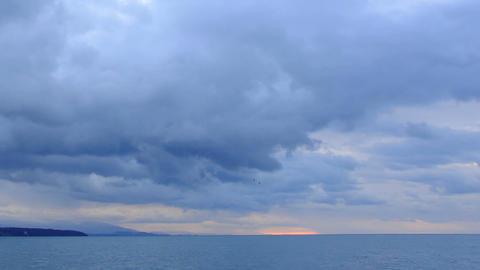 Sunrise over the Black Sea. Pitsunda, Abkhazia, Full HD Footage