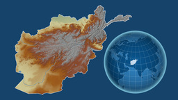 Afghanistan and Globe. Relief Animation