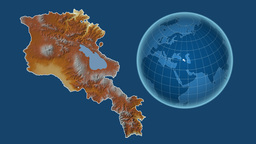 Armenia and Globe. Relief Animation
