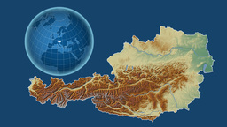 Austria and Globe. Relief Animation