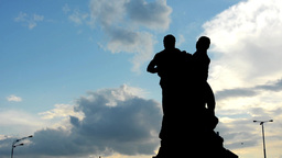 statue with cloudy sky - high contrast - lapms - silhouette Footage