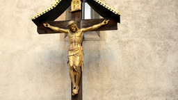 jesus on the cross - crucifix - wall with nature... Stock Video Footage
