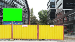 construction site - construction of new modern buildings (offices) - billboard - Footage