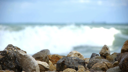 Sea Waves Soft Crashing Of The Rocks On The Seashore 119 stock footage