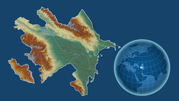 Azerbaijan and Globe. Relief Animation