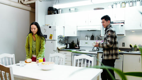 Couple having breakfast at home Live Action