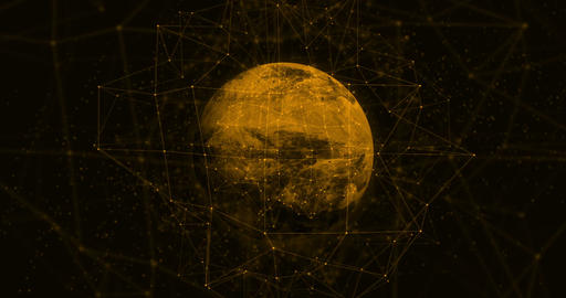 Plexus effect on Orange planet in abstract form Animation