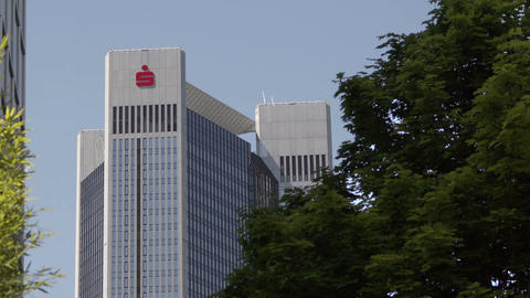 German Sparkasse Logo on Trianon Building in Frankfurt Germany Footage