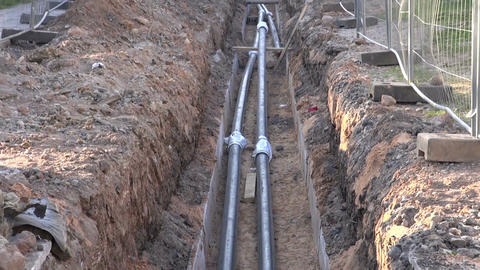 Central heating pipes in the ditch Footage