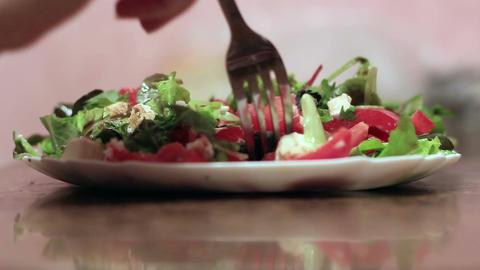 Girl Eating Salad 2 Footage