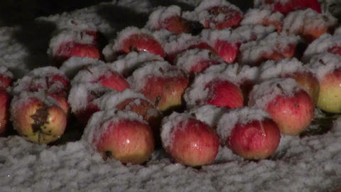 Apples on red wooden table in the winter with falling snow Footage