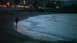 Night walk on the beach Footage