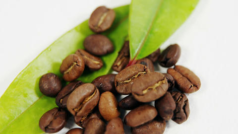 Close-up of roasted coffee beans with coffee leaves Live Action