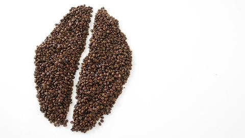 Coffee beans forming coffee bean shape Live Action