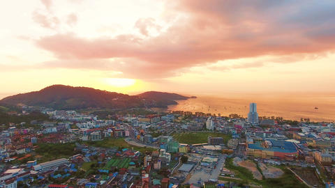 Aerial, 4K Landscape View of Patong Town In Phuket South of Thailand at sunset Filmmaterial