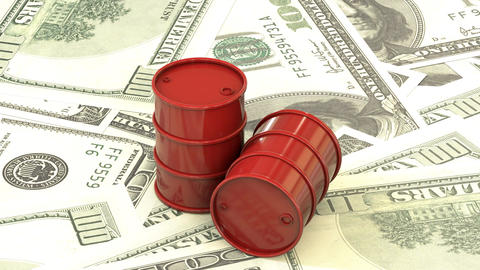 Red barrels of oil lie on the background of dollar money Animation
