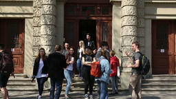 BRNO, CZECH REPUBLIC, APRIL 15, 2017: Students University Europe go to and from Filmmaterial