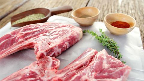 Close-up of sirloin steak and ingredients Footage