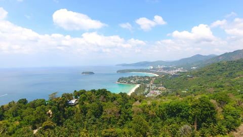 Aerial View Over Southern Phuket Beaches and Hills Footage