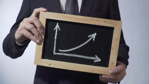 Growth graph drawing on blackboard, businessman holding sign, business concept Live Action
