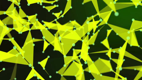Abstract yellow geometrical background with moving dots and triangles. Connectio Animation