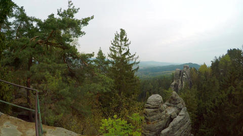 Lookout from observation point Prachovske skaly (Prachov Rocks) Footage