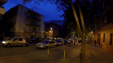 Crowded Inner Street At Night Footage