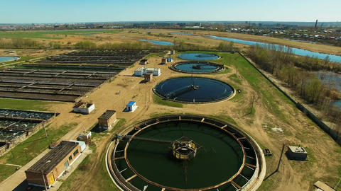 Aerial view of Wastewater treatment plant Footage