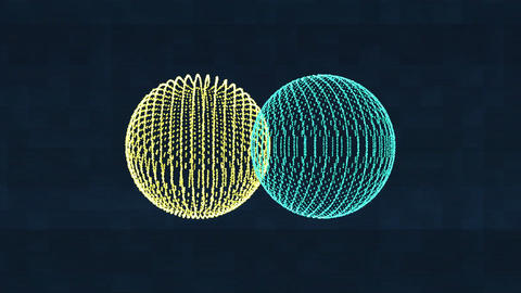 Two rotating orbs. Motion graphics showing innovation and science Animation