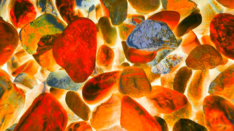 Especial effects. Stony pavement from pebbles, colorful rounded stones, Camera m Live Action