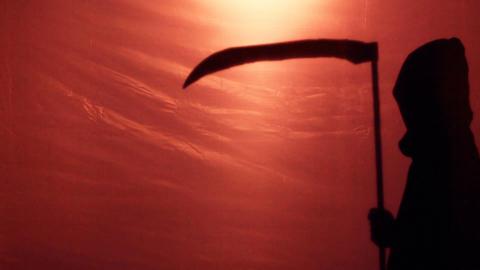 Death shadow creeping to victim, bloody war or disease epidemic killing people Footage