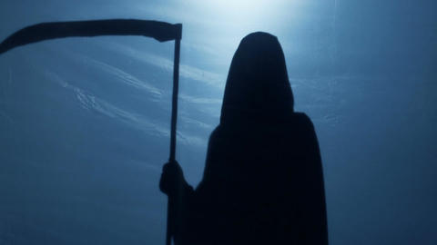 Grim Reaper with scythe turning back, walking away to give victim second chance Live Action