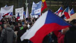 Demonstration against Islam and refugees in Prague Footage