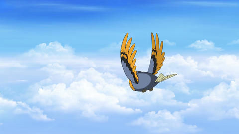Bird in Flight. Back View Animation