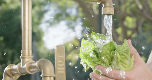 Super slow motion shot of a man washing lettuce with water Footage