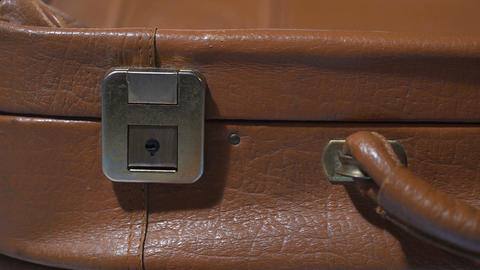 Old leather suitcase closeup, emotional baggage of life experience, memories Footage