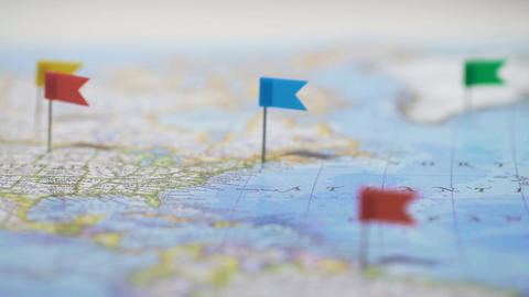 Pins mark cities and towns in countries on world map, mobile network coverage Footage