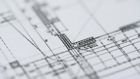 Architect drawing construction details on building plan for industrial facility Footage