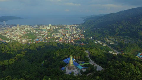 Aerial, 4K Landscape View of Patong Town In Phuket South of Thailand Filmmaterial