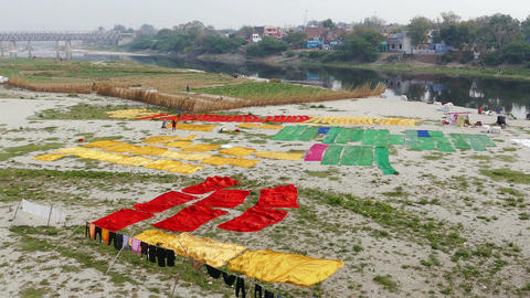 Agra Yamuna River Colored Textile 4k Footage