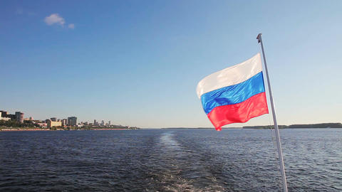 The Russian flag waving Footage