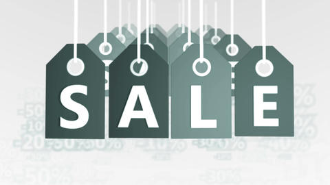 Square Gray Tags Hanging with the word Sale Animation