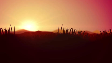 Cartoon Dawn animation with Silhouette of Grass Animation