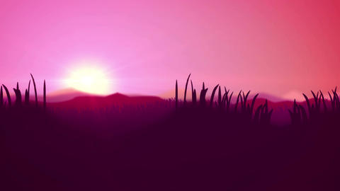 Silhouette of Grass Flowers fields and hills Animation