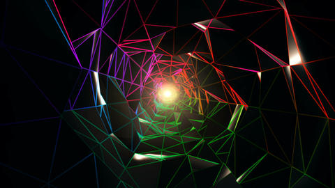 Colorful Polygonal Tunnel VJ Loop