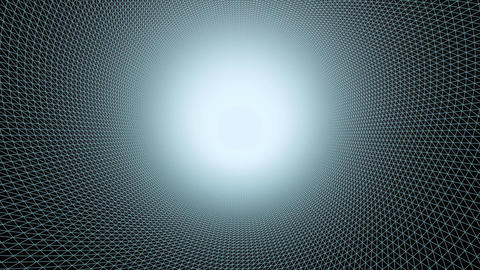 Moving through futuristic polygon mesh tunnel. Motion graphics background Animation
